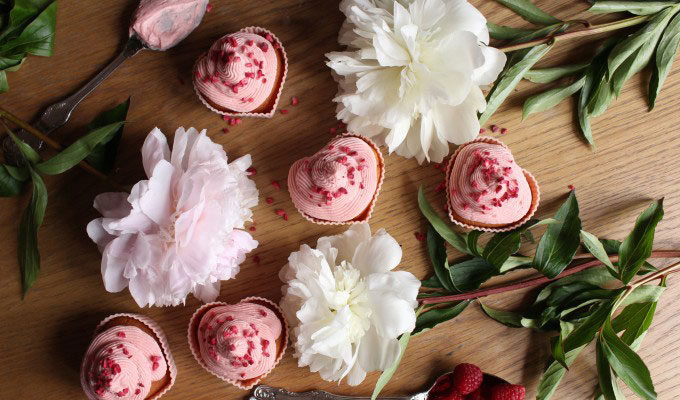 Raspberry and rosewater cupcakes