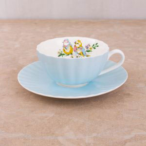 Bird Song Blue Tea Cup & Saucer