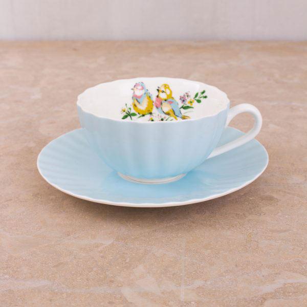 Bird Song Blue Tea Cup & Saucer