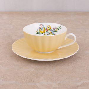Bird Song Yellow Tea Cup & Saucer