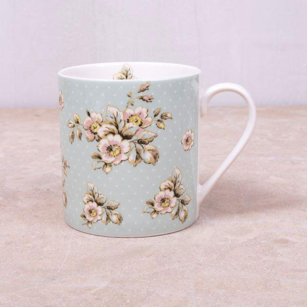 Cottage Flower Green Mug-0