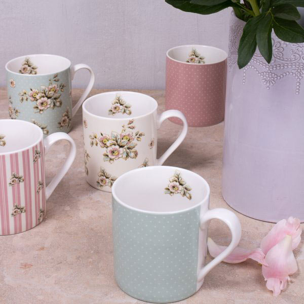Cottage Flower Green Spot Mug