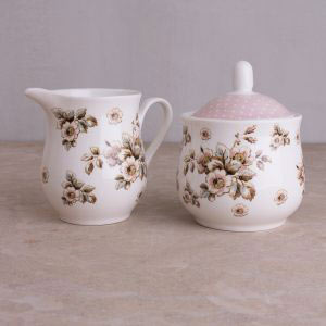 Cottage Flower Sugar Bowl & Creamer