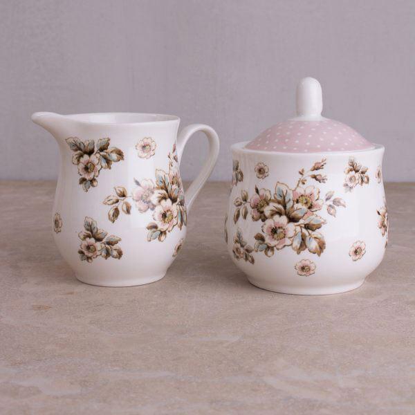 Cottage Flower Sugar Bowl & Creamer