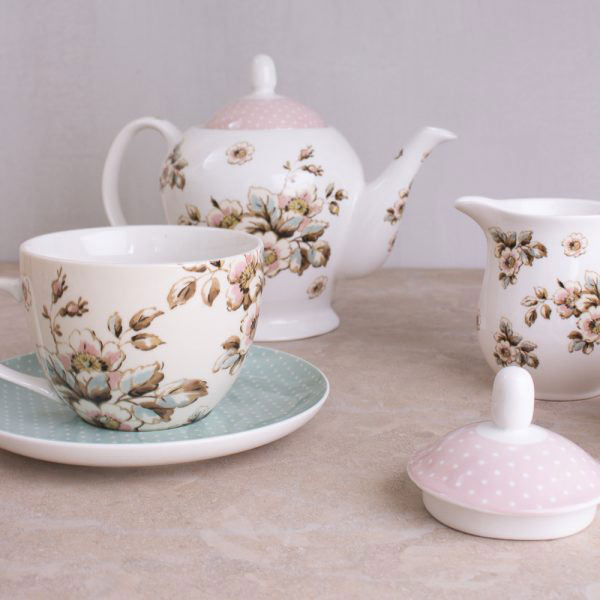 Cottage Flower Sugar Bowl & Creamer-419