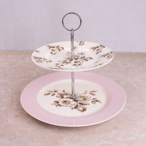 Cottage Flower 2 Tier Cake Stand