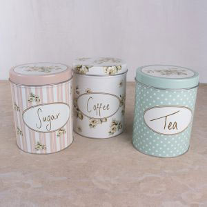 Cottage Flower Set Of Tea, Coffee, Sugar Tins
