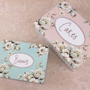 Cottage Flower Set Of 2 Rectangular Tins