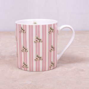 Cottage Flower Pink Stripe Mug