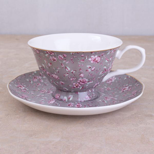 Ditsy Floral Grey Tea Cup & Saucer