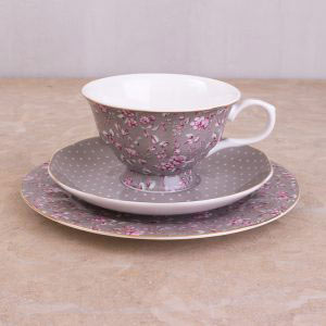 Ditsy Floral Grey Afternoon Tea Set