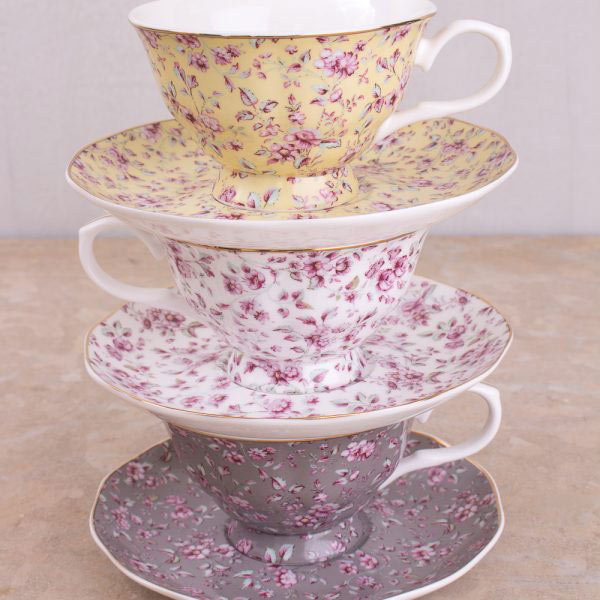 Ditsy Floral Grey Tea Cup & Saucer