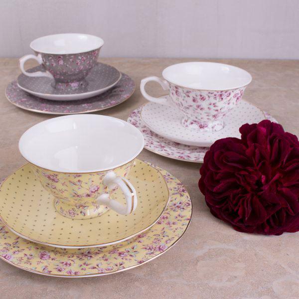 Ditsy Floral Grey Afternoon Tea Set
