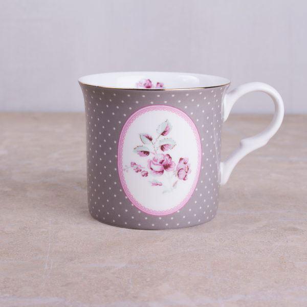 Ditsy Floral Grey Oval Palace Mug