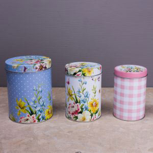 English Garden Set Of 3 Storage Tins