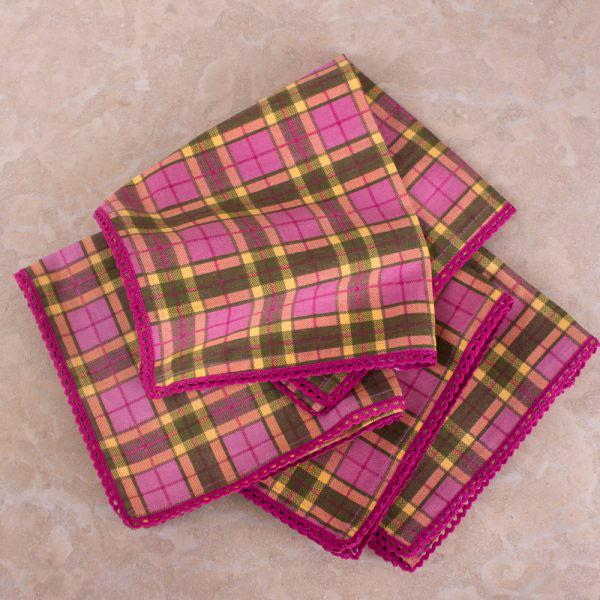 Highland Fling Pack Of 4 Lace Trim Napkins