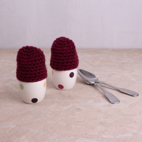 Highland Fling Set Of 2 Egg Cups With Knitted Cosies