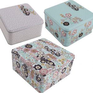Pretty Retro Set of 3 Square Cake Tins-992