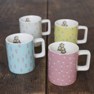 Pretty Retro Set of 4 Espresso Cups-0