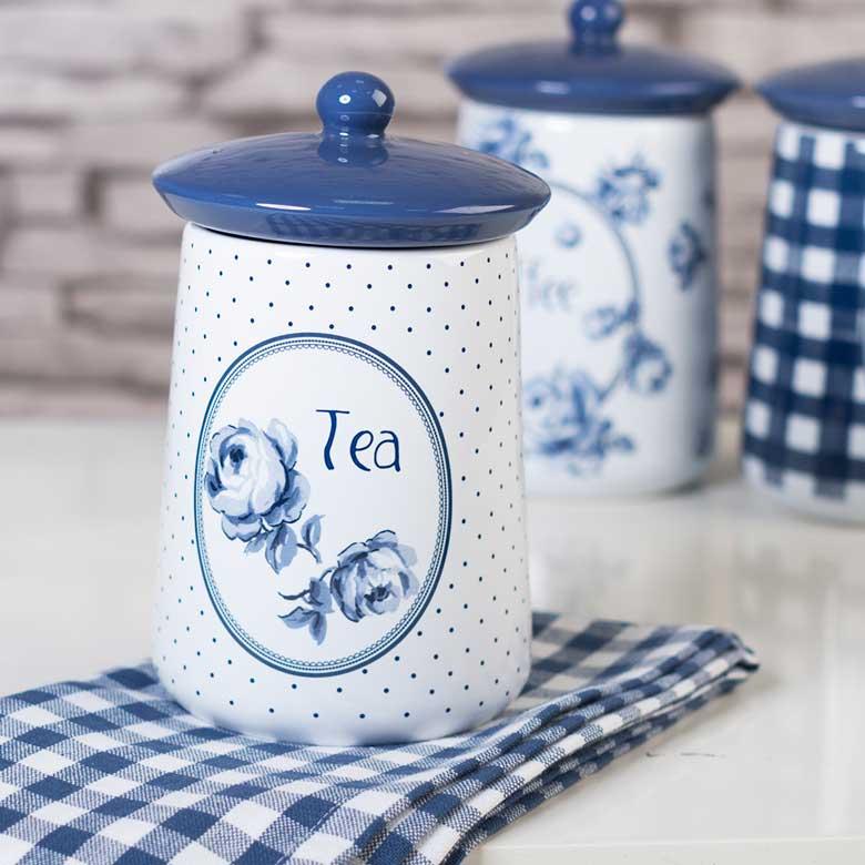 Vintage Indigo Ceramic Tea Jar Katie Alice Katie Alice