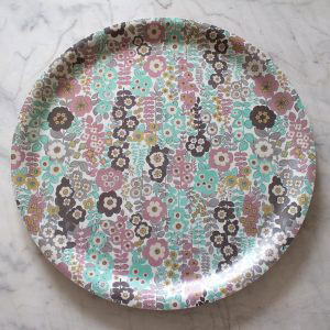Pretty Retro Large Round Birchwood Tray