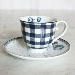 Vintage Indigo Gingham Tea Cup & Saucer