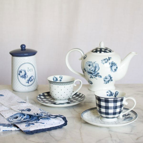 Vintage Indigo Spot Tea Cup & Saucer