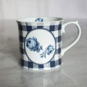 Vintage Indigo Gingham Floral Tankard Mug