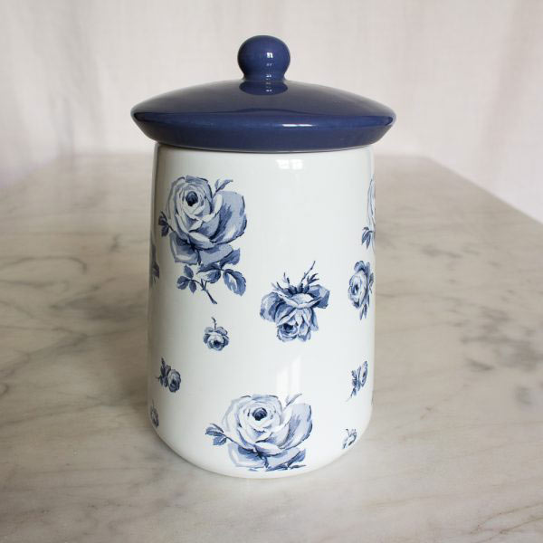 Vintage Indigo Ceramic Coffee Jar