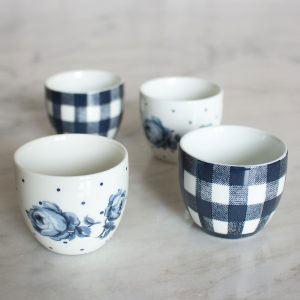 Vintage Indigo Set of 4 Egg Cups