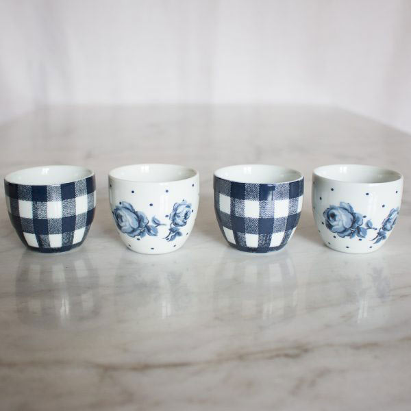 Vintage Indigo Set of 4 Egg Cups