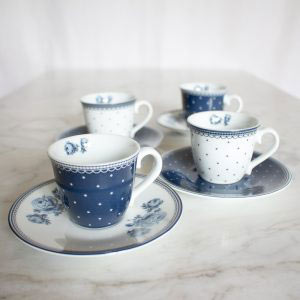 Vintage Indigo Set of 4 Espresso Cups & Saucers