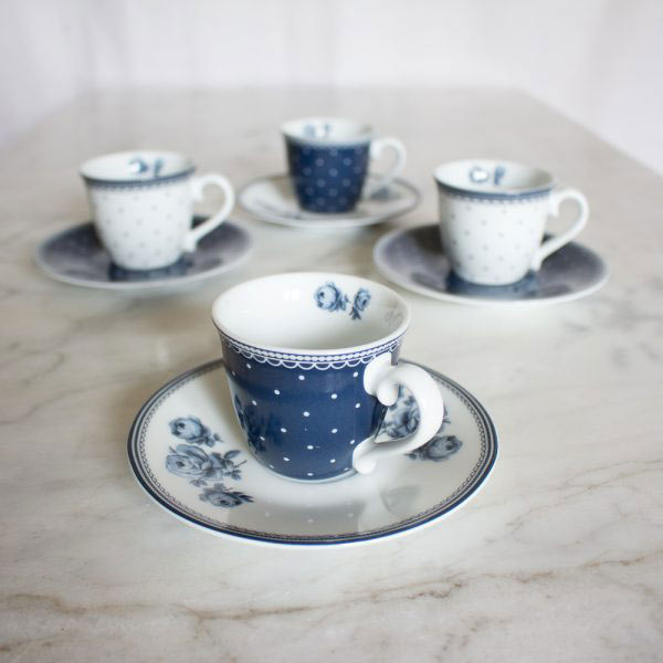Vintage Indigo Set of 4 Espresso Cups & Saucers