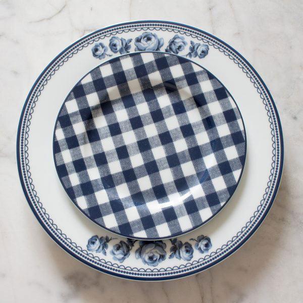 Vintage Indigo Gingham Side Plate