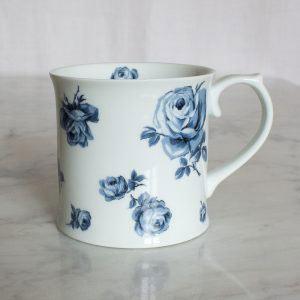 Vintage Indigo White Floral Tankard Mug