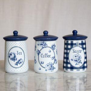 Vintage Indigo Set of 3 Ceramic Storage Jars