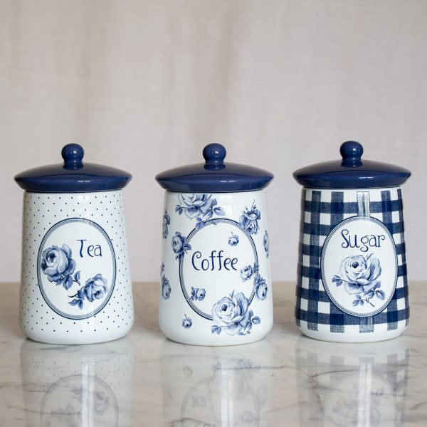 Vintage Indigo Set of 3 Ceramic Storage Jars