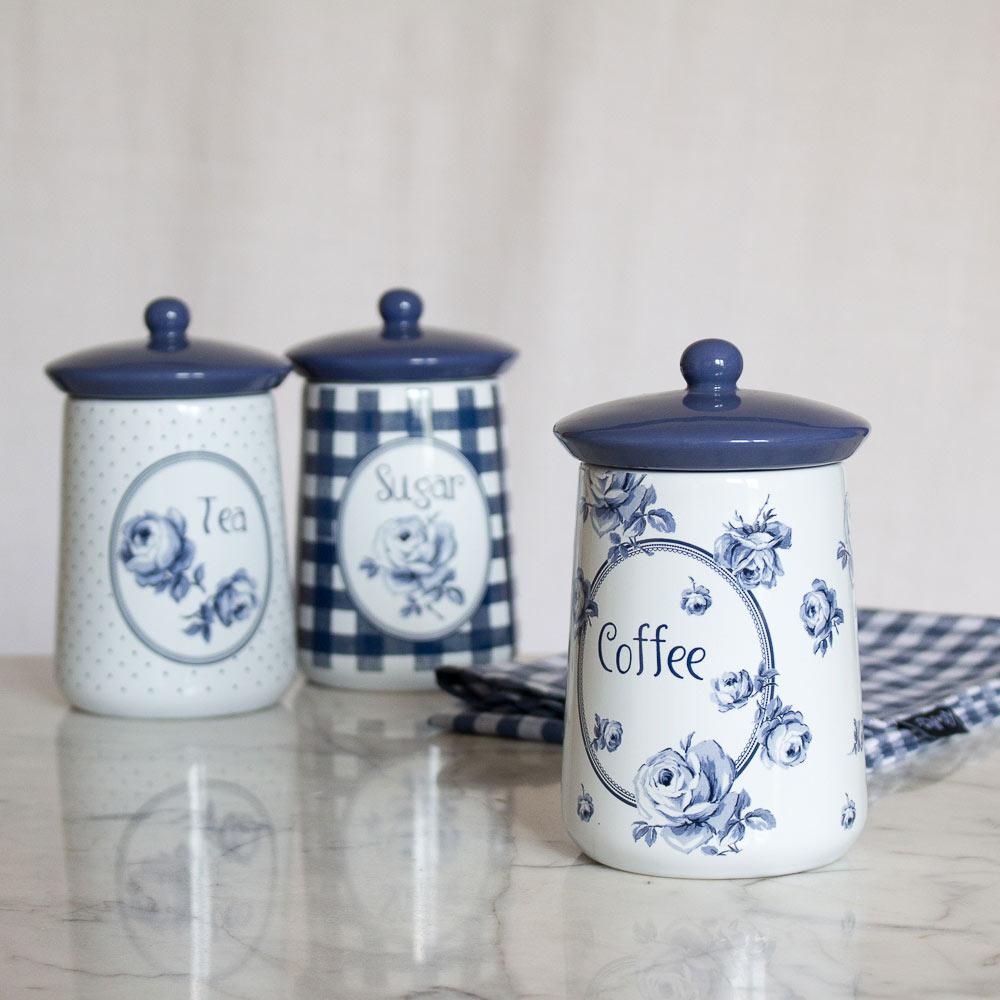 Vintage Indigo Set Of 3 Ceramic Storage Jars Tea Coffee