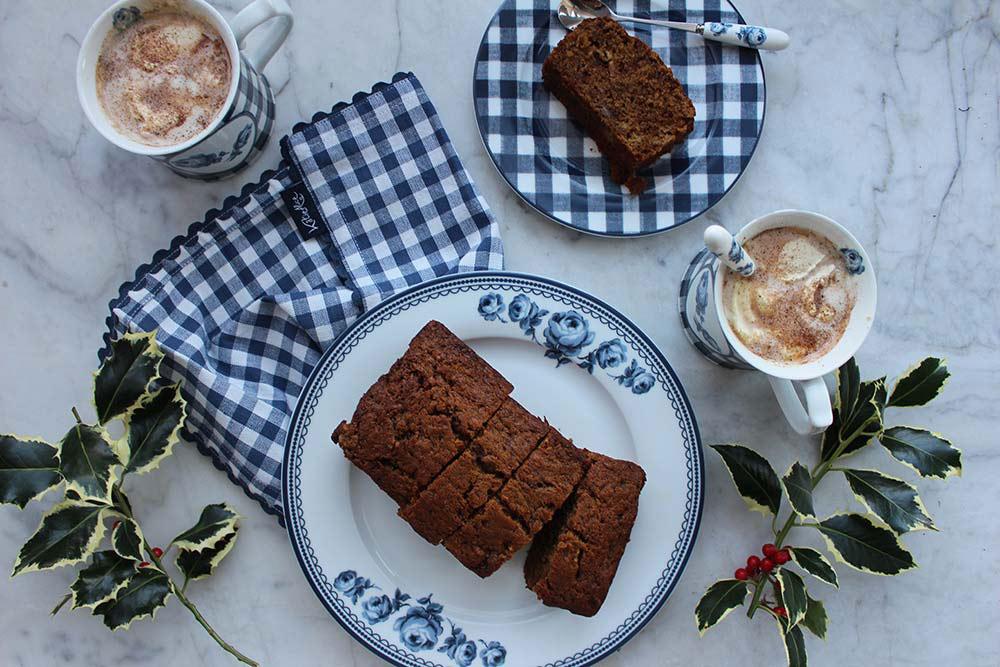 Homemade hot chocolate and spiced banana bread