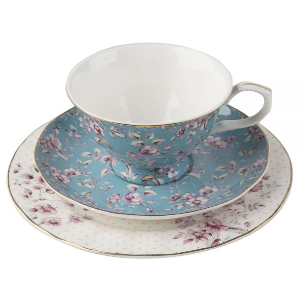 Ditsy Floral Teal Afternoon Tea Set-1393