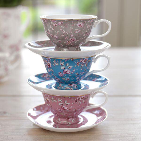 Ditsy Floral Teal Tea Cup & Saucer-1459