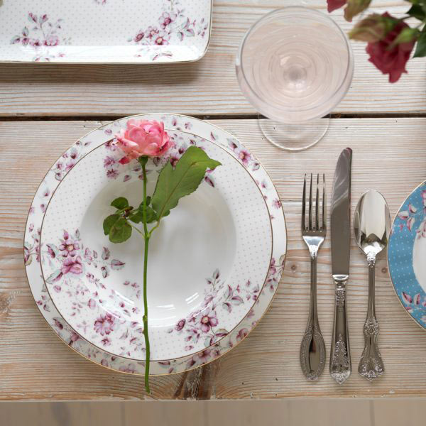 Ditsy Floral White Dinner Plate-1472