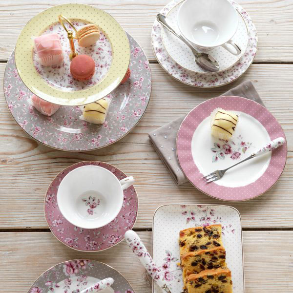 Ditsy Floral Pink Tea Cup & Saucer-1461