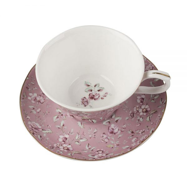 Ditsy Floral Pink Tea Cup & Saucer-0
