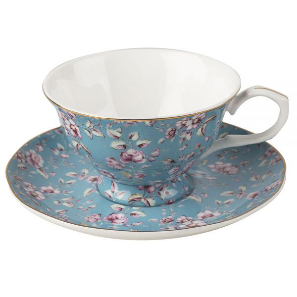 Ditsy Floral Teal Tea Cup & Saucer-1397