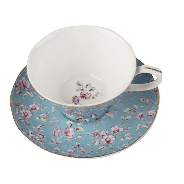 Ditsy Floral Teal Tea Cup & Saucer-0