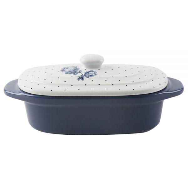 Vintage Indigo Mini Oval Casserole Dish-1346