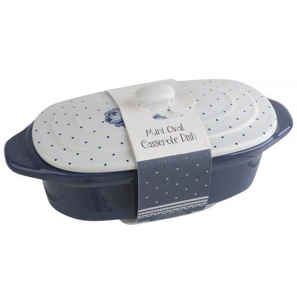 Vintage Indigo Mini Oval Casserole Dish-1347