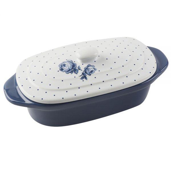 Vintage Indigo Mini Oval Casserole Dish-0