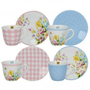 English Garden Set of 4 Espresso Cups & Saucers-0